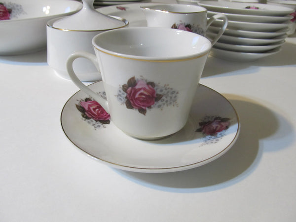 Fine China SET, Pink Rose and Blue Flowers, Roses, Rose Pattern, Dishes Set, Gold Trim, Gold Rim, 49 pieces, C. Art HK, CKZ2, Weddings