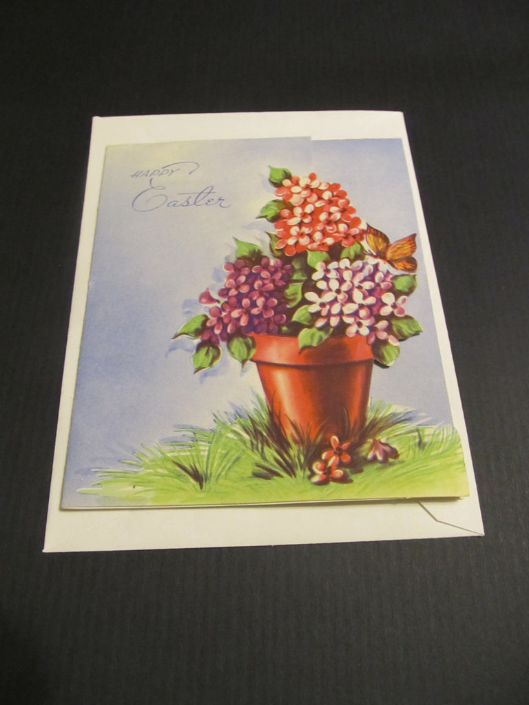 Happy Easter, flowers, floral, vintage, Holiday, Greeting Card, springtime, Flower pot, Springtime, Easter, Holiday, vintage, FREE SHIPPING