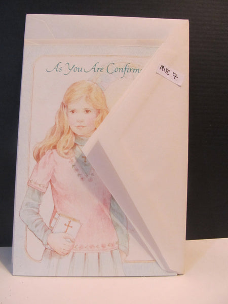 As You Are Confirmed, young girl holding bible, vintage, Hallmark, Confirmation Cards, Greeting Card, Congratulations, FREE SHIPPING