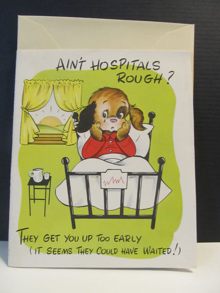 Cute Dog, Get Well, Hospitals, Feel Better, Recovery, BOOK cards, vintage, medical card, people in hospitals, Greeting Card, FREE SHIPPING