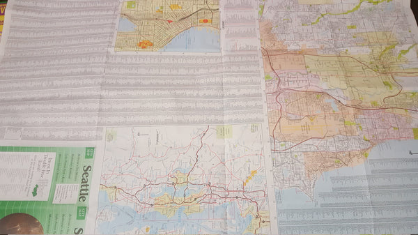 Seattle Washington, Street maps, vintage maps, wall decor, two maps, bundle! FREE Shipping!