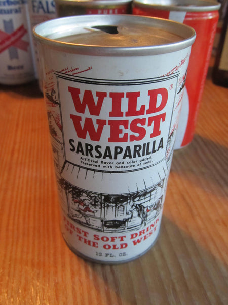 Wild West Sarsaparilla, First Soft Drink of the Old West, Aluminum can, pull top, vintage soda