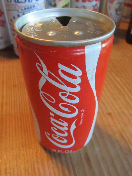 Coke, Coca Cola, vintage soda, aluminum can, pull tab, red and white, old school cans, FREE SHIPPING