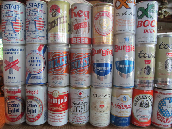 Vintage Aluminum Beer Cans, various brews, instant collection, wall of beer, bar decor