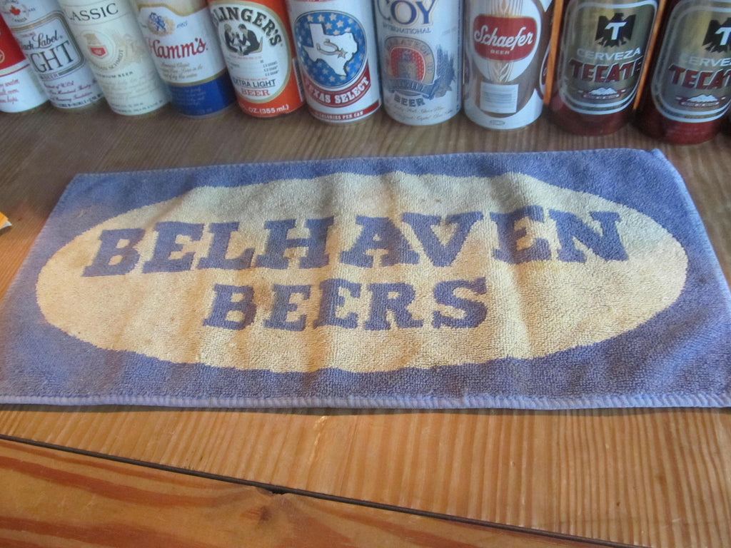 BelHaven Beers, Bar Towels, vintage towel, bar decor, blue and yellow, bar decor, free shipping