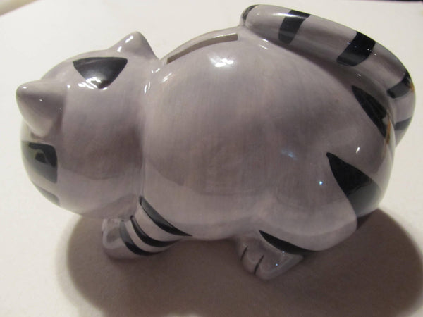 Grey Cat Piggie Bank, Black striped Kitty, coin collector, change jar, kitties, kitten, meow, vintage banks