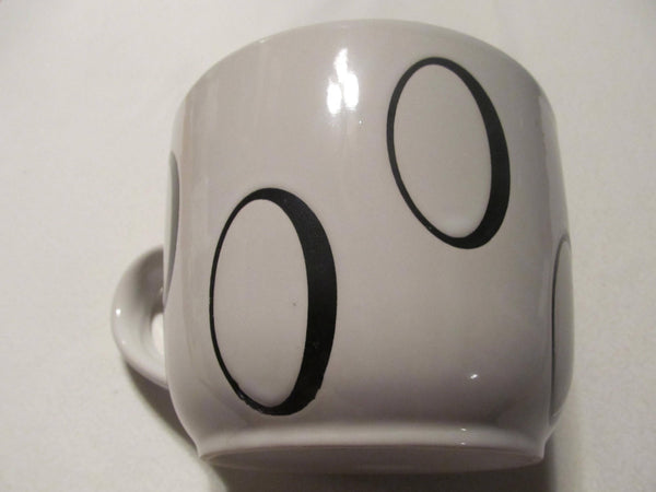 GINORMOUS Coffee Mug, two tone white and brown, with O's, vintage mugs, coffee lovers, FREE SHIPPING