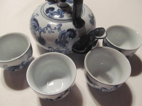 Blue and White, Handpainted Porcelain Exclusively for Pier 1 Tea Set, Dish & Micro Safe, 6 piece tea set, matching