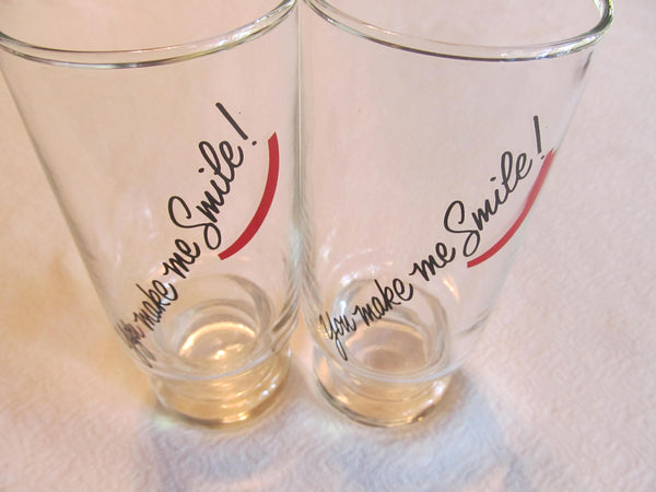 You make Me Smile, quotes of love, FREE shipping, clear glasses, set of two matching, glasswares, love cups, couple gifts, gifts for couples
