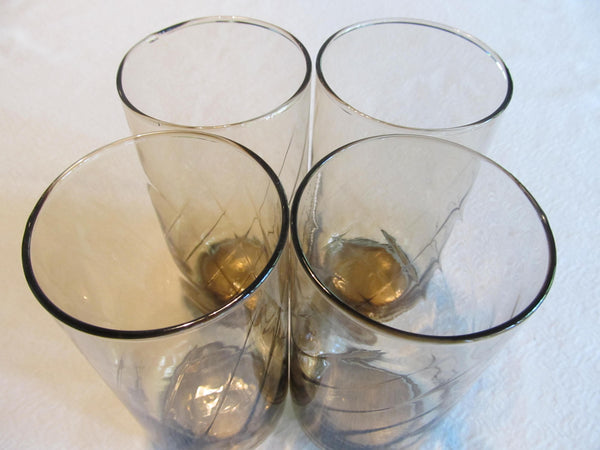 SET of 4, Purple Clear Swirl Glassware, vintage glasses, FREE Shipping