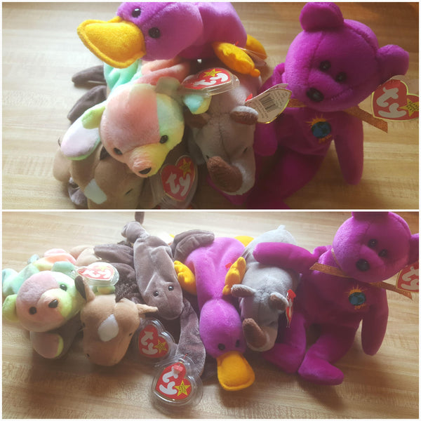 Original Beanie Babies, Beanie Baby, Patti the Platypus, Spike the Rihno, Derby the Horse, Sammy the Bear, Stinger, Millenium, free shipping
