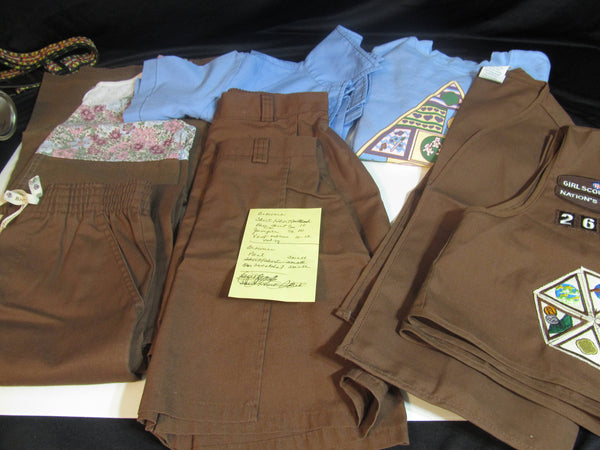 Brownie Girl Scout Uniforms, vintage girl scouts outfits, GSoA clothing, pants, shirts, jumper, sash, patches, sweatshirt, skirts