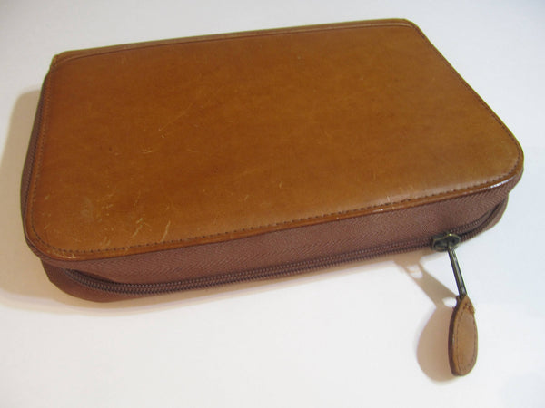 Genuine Leather - Day Planner, zippered, with zipper pockets, holders, folders, needs new paper, day timer, FREE SHIPPING