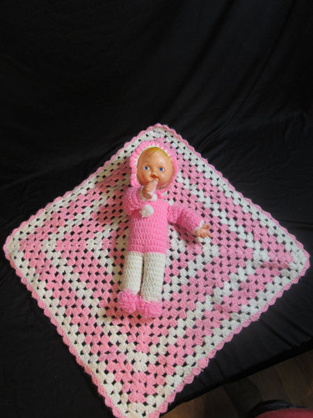 Crochet Baby Blanket with Doll, Pink and White, Vintage Baby Dolls, baby with bottle and blanket, vintage toys, OOAK