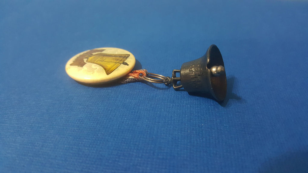 Liberty Bell, Pin, Button, with pendent, vintage Philadelphia, pa
