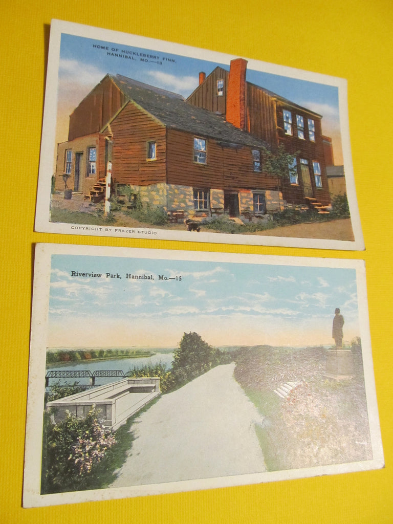 Hannibal Missouri Postcards, Home of Huckleberry Finn, Hannibal, MO, Mark Twain Historical Landmark Home, Landscape, Postcard, FREE SHIPPING