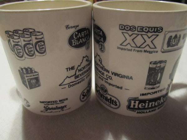 the Northern Virginia Beverage Co, two matching mugs, Schmidts, Heineken, Dos Equis XX, Carta Blanca, Imported Beer, Mugs, Coffee Mugs