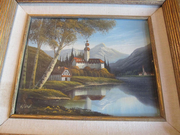 Vintage Painting, Water Scene, Buildings and Mountains, 8x10 painting, framed 13.5 x 15.5