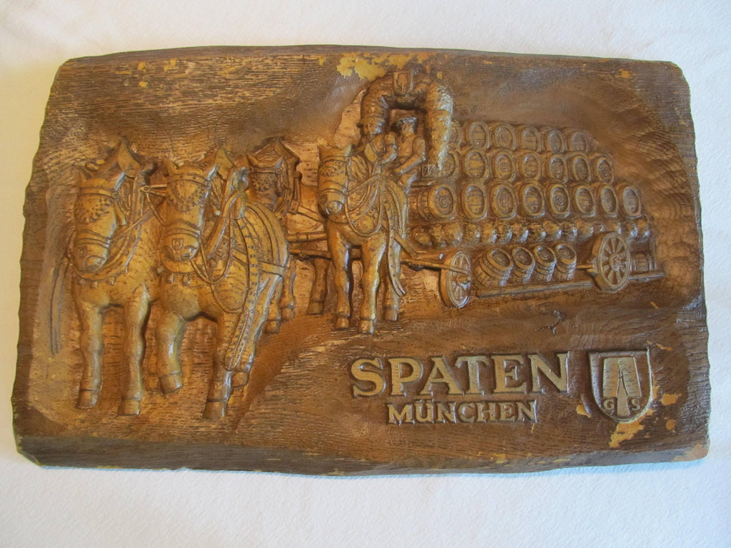 SPATEN MUCHEN horse pulling beer barrels, Beer Sign, Man Cave Decor, Bar Decor, Beer Wagon, FREE Shipping