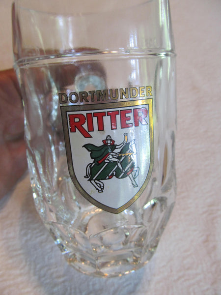 1 .25L DORTMUNDER RITTER, German Brewery, Glass Beer Mug