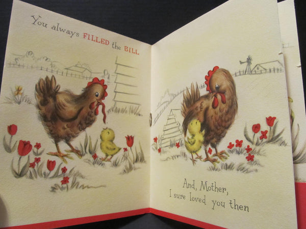Easter card BOOK, Chickens on the Farm, to my Mother at Easter Holiday Greeting Cards, Second Use, with Envelope, FREE Shipping
