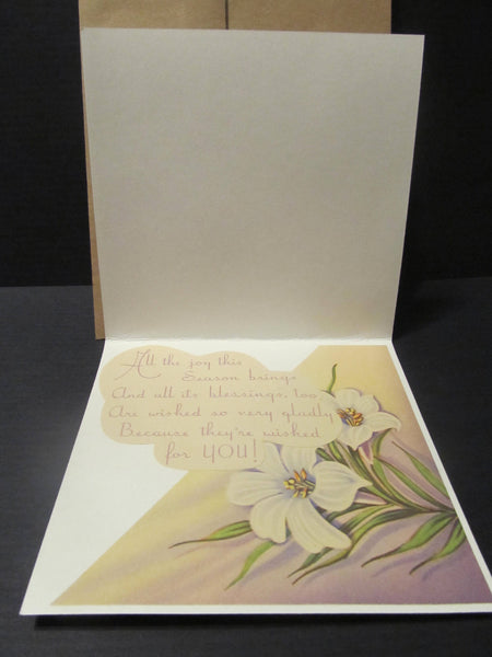 Easter Holiday, Cross with Flowers, Easter Wishes, Vintage Greeting Cards, Recycled Cards, Second Use, with Envelope, FREE Shipping