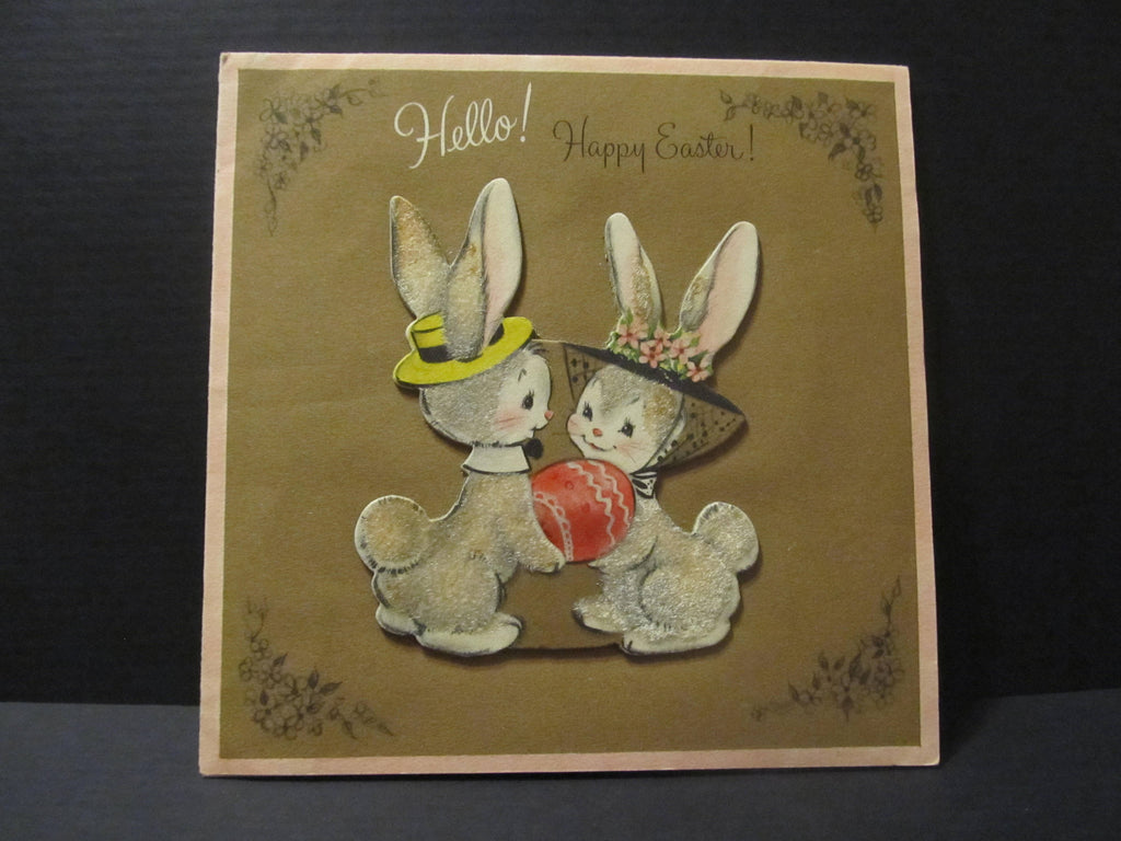 Hallmark, Hello Happy Easter, Fuzzy Bunny Rabbits, Holiday Greeting Cards, Recycled Cards, Second Use, with Envelope, FREE Shipping