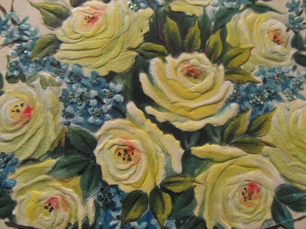 To a Wonderful Sister at Easter, Yellow Roses, Vintage Holiday, Easter Greeting Cards, Recycled Cards, with Envelope, FREE Shipping