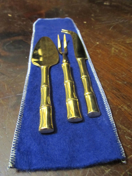 Cheese Serving Gold set, VINERS OF SHEFFIELD, Gold Cane, Knife and Fork, Cheese Serving set, made in Japan, Golden Flatware, replacements