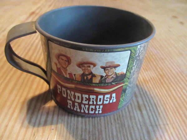 Ponderosa Ranch & Kentucky Hillbilly Tin Mugs, vintage collectibles