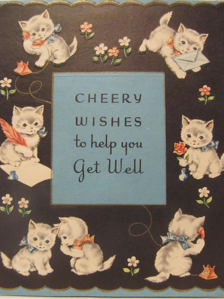 Cheery Wishes to help you Get Well, CATS Kitties with Mail, Recycled Cards, Vintage Greeting Cards, Can't find these in stores nowadays