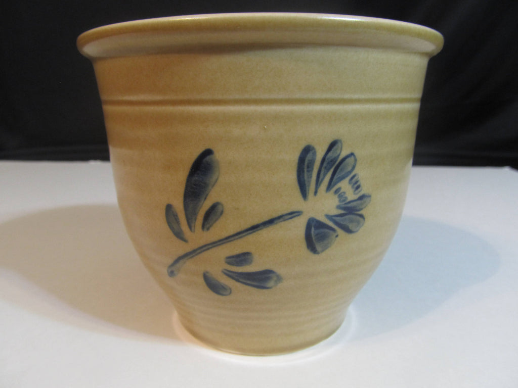 1984 Planter, TRDA PFALTAGRAFF copyright USA, tan with blue flower, small planter pot, gardening decor, gardening starter pot, Free Shipping