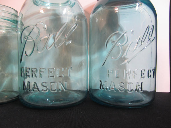 Antique Blue Ball Mason Glass Jars, set of six, antique mason jars, clear blue, glass collectibles, perfect mason, 1910s-1930s