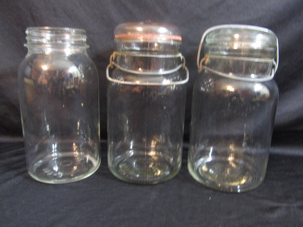 Glass on Glass Canister Jars, Snap Seal, snap closure, glass jars, vintage kitchen, vintage mason jars