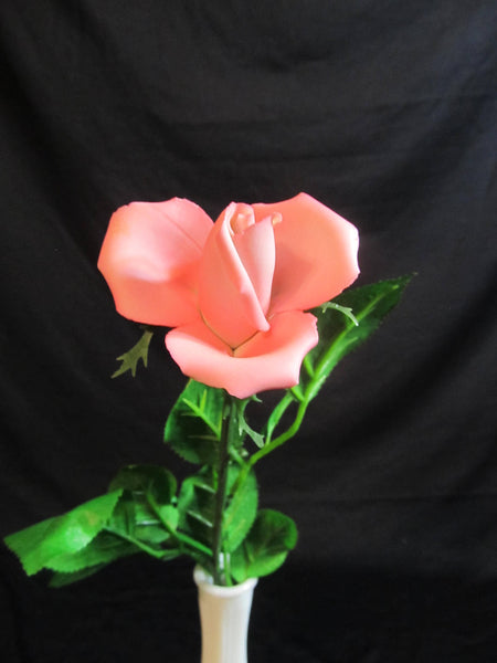 Pink Long Stem Rose, with vase, Valentines Day package, Ready to Ship, Happy Valentines Day, For HER, single rose, Mothers Day Gift ideas