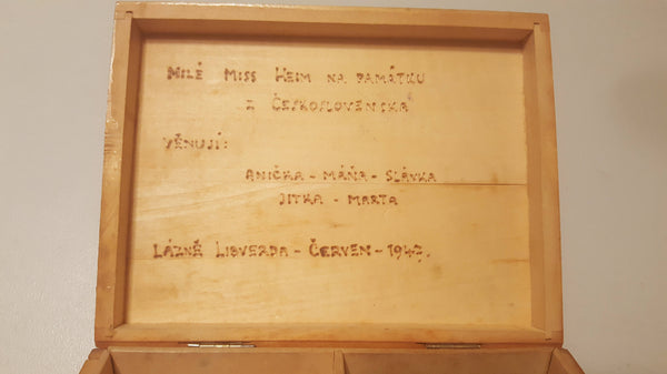 Engraved with Note, Antique Wooden Trinket Box, 1947, Czech, Hidden Message,