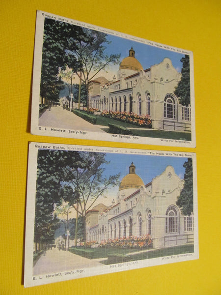 Hot Springs, Arkansas, Quapaw Baths, Big Dome House, Postcard, Operated under Supervision of U.S. Government FREE SHIPPING