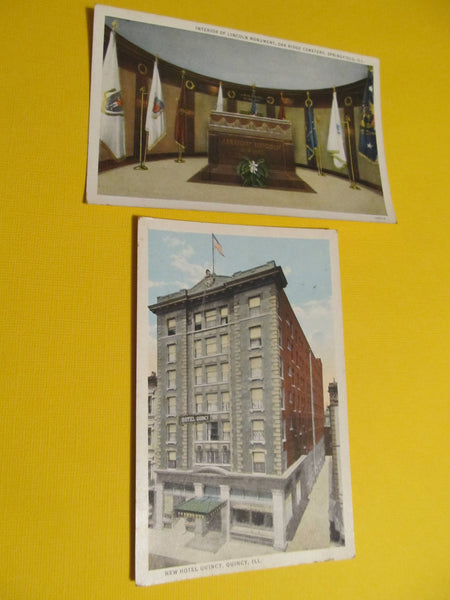 Quincy Illinois, Lincoln Monument, New Quincy Hotel, Postcard, FREE SHIPPING