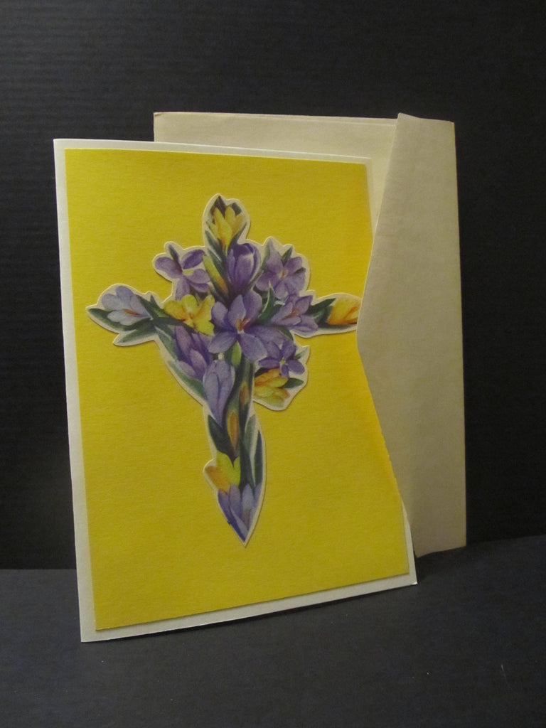 Floral Cross, Easter Card, Easter Greetings, Springtime Greeting Cards, Recycled Cards, Second Use, with Envelope, FREE Shipping