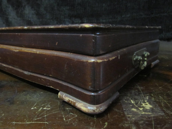 Antique Patina Wood B engraved, Wooden Silverware Box, Silverware Chest, Wooden Chest, Initial B, with feet, Flatware Chest, FREE Shipping