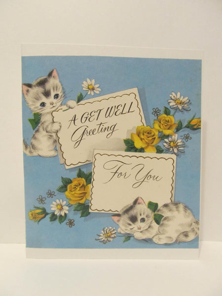 A Get Well Greeting For You, Kitty Cat, Kittens, Cat Card, Get Well Greeting Cards, Recycled Cards, Second Use, with Envelope, FREE Shipping