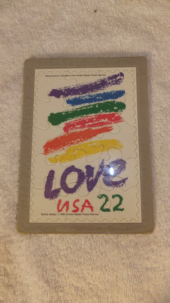 LOVE Rainbow Puzzle Stamp Post Card - Vintage 1990, FREE Shipping