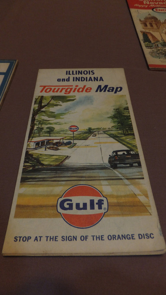 Indiana & Illinois Map - Gulf - Vintage