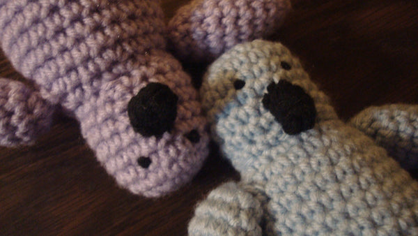 Two Penguins - One Blue Penguin, One Purple Penguin, Penguin Buddies, Stuffed Animals,  Handmade Crochet, Gifts for Kids, FREE Shipping!!