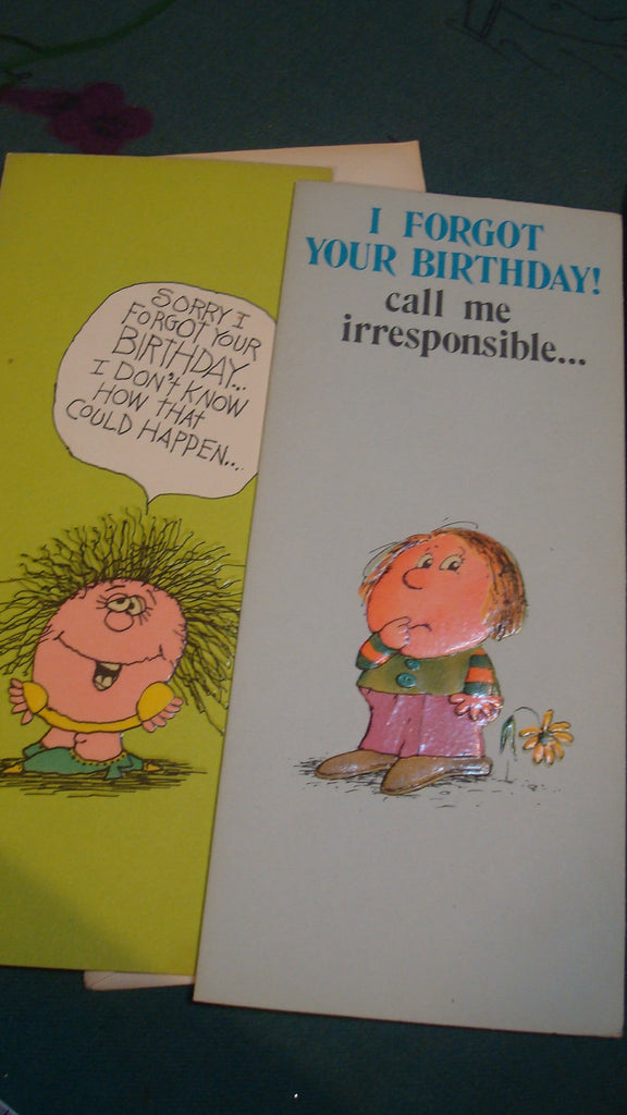 Two Birthday Cards - Vintage, Late Forgotten Birthdays