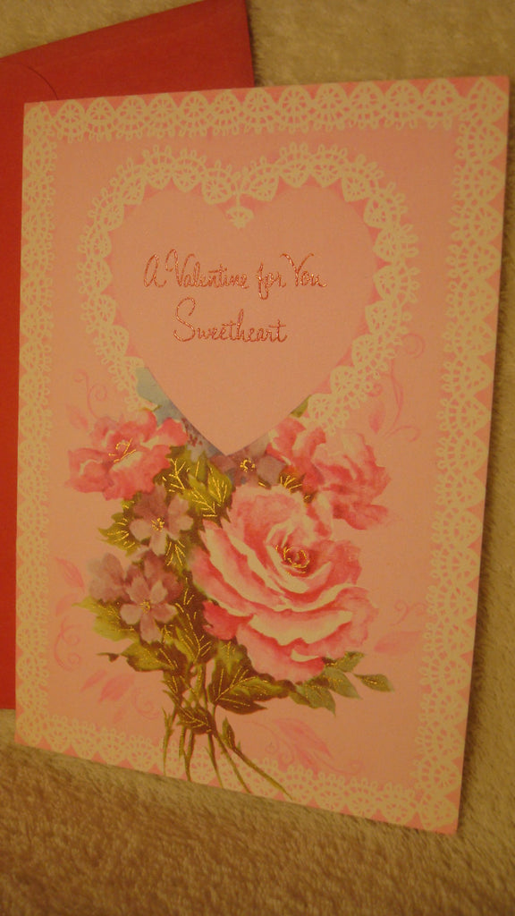 A Valentine for You Sweetheart, Vintage Valentine's Day Card - For Sweetheart - Quality Greetings, VDay Cards, For Sweetheart, free shipping