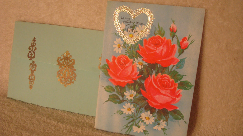 Dear Wife, Vintage Valentine's Day Card - For Wife - Quality Greetings, Flowers, Roses, For Wife