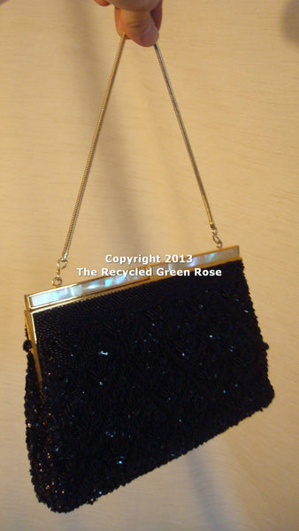 Sparkle Beaded Gold Black Vintage Formal Purse - Evening Purse, ladies purse, night out purse, fashion purse, purses for prom free shipping