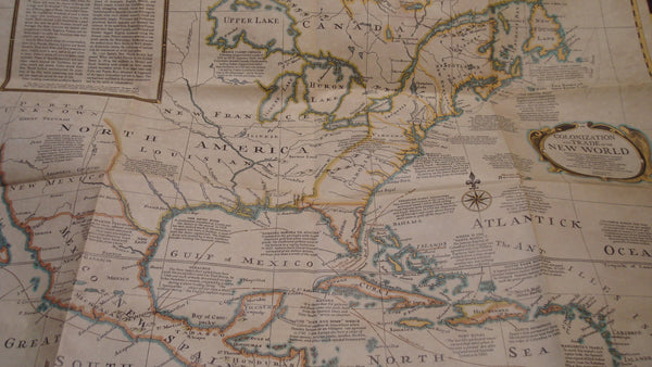 Colonization and Trade in the NEW WORLD - Vintage Map, Nautical Decor, Boat, Ship, wall decor, FREE Shipping