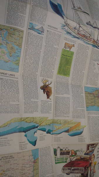 Wisconsin, Michigan and The Great Lakes - National Geographic - Vintage Map, Lake Decor, Nautical Decor, FREE Shipping